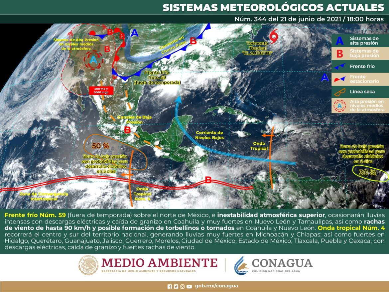 Frente frío provocará tormentas en Tamaulipas y NL
