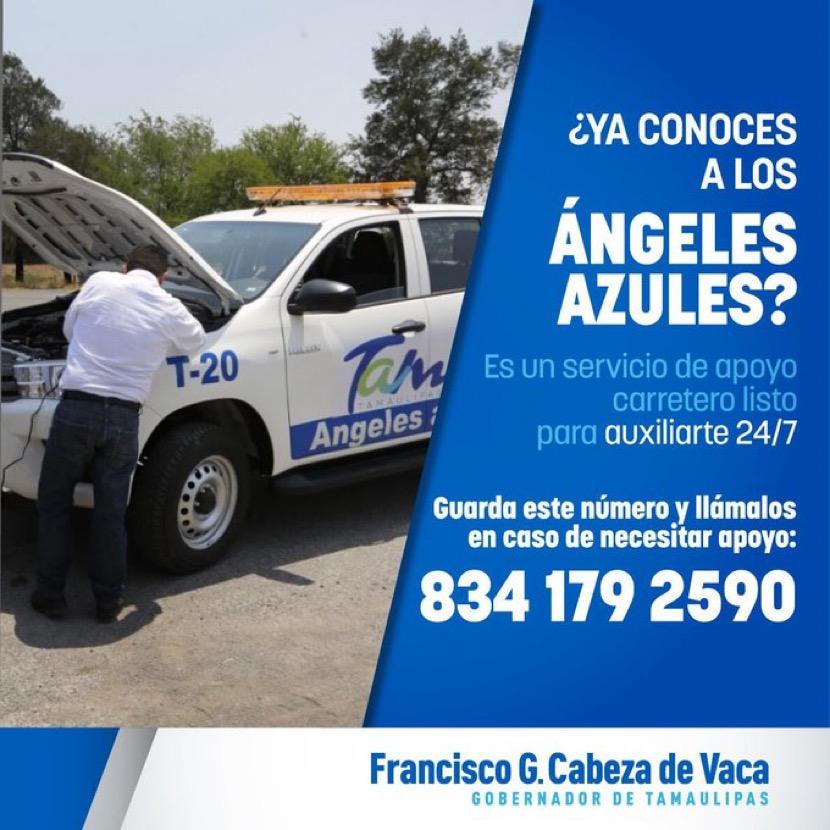 Angeles Azules auxilio en carreteras de Tamaulipas