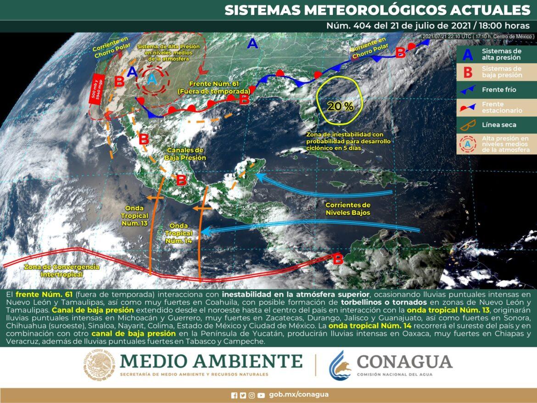 Alertan lluvias, granizo y hasta tornados a Tamaulipas y NL