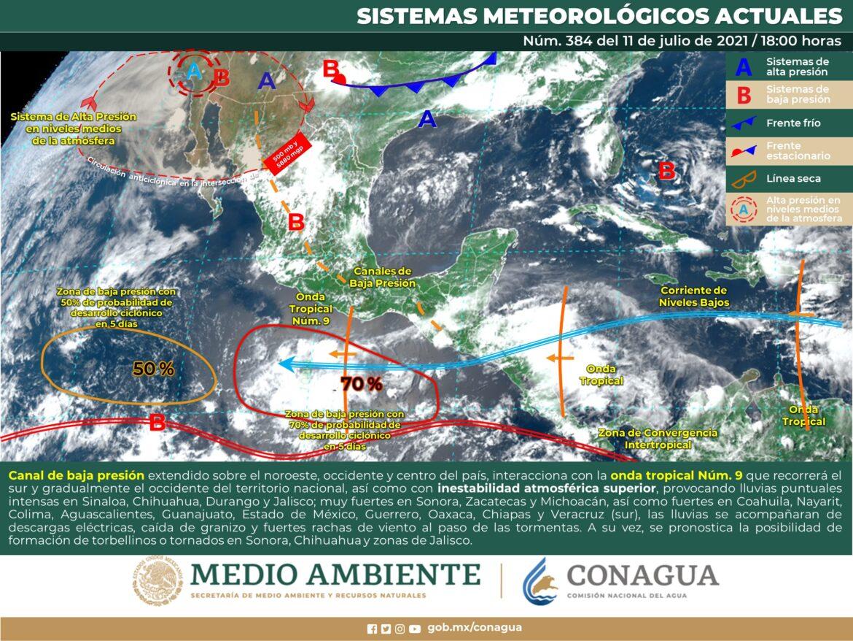 Lluvias puntuales fuertes para Tamaulipas y NL